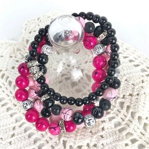 Stackable Bling Fashion Bracelets Pink Black 4 Pc